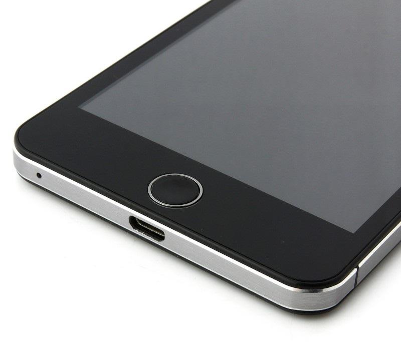 Detalle conexión microUSB y botón home del Elephone P6i