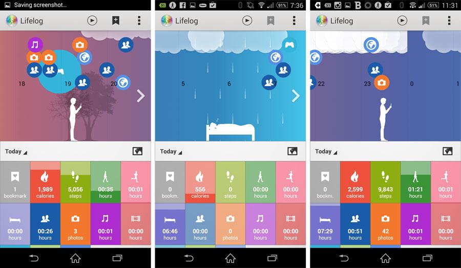 Lifelog se presenta como una aplicación visualmente muy atractiva