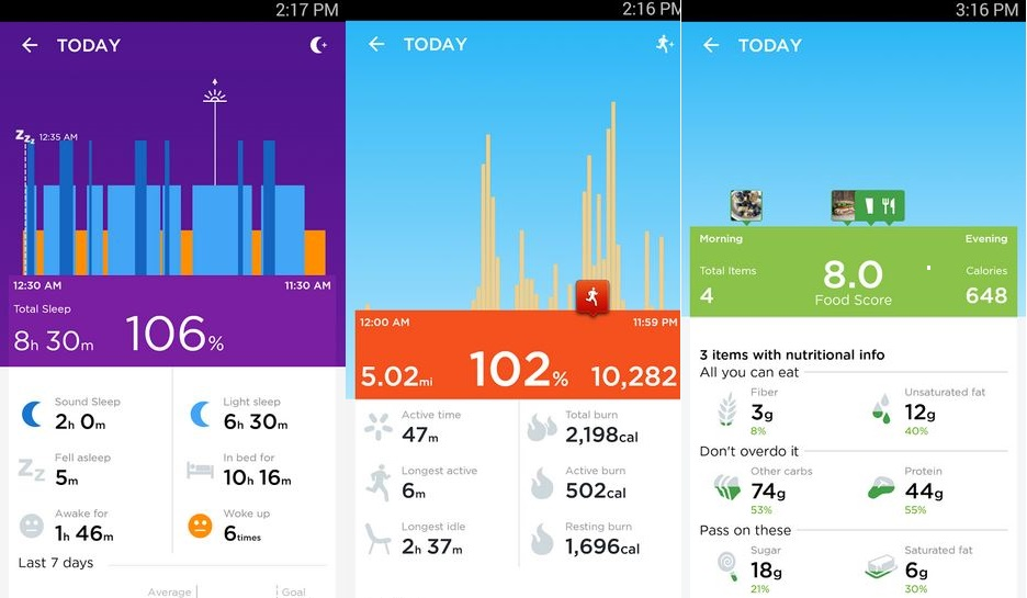La aplicación Up de Jawbone nos permite sincronizar la smartband con el smartphone para mostrar nuestra información y logros
