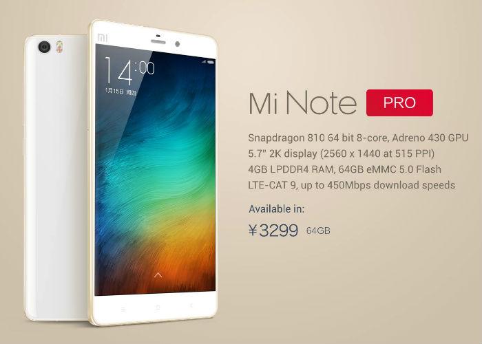 Xiaomi Mi Note Pro llega a un precio de 500 euros al cambio