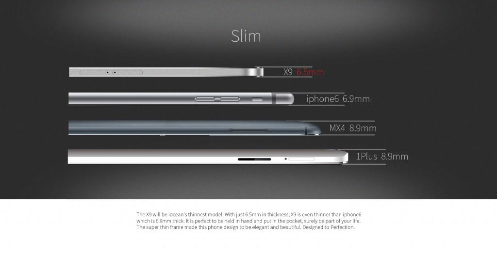 El iOcean X9 puede presumir de ser uno de los móviles 4G mas delgados del mercado.
