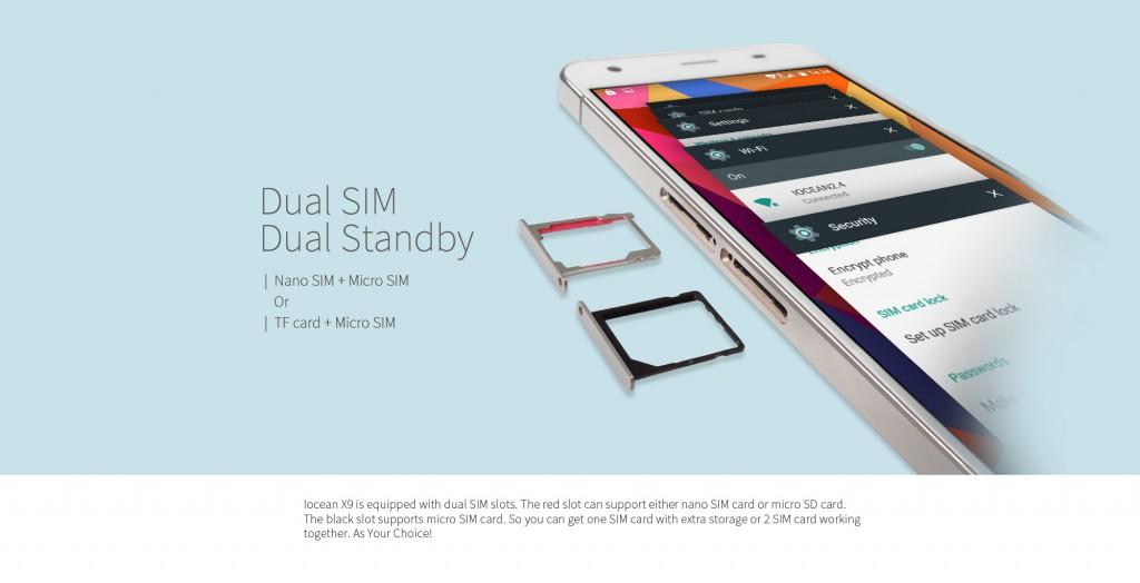 El iOcean X9 dispone de un sistema de doble ranura con el que podemos instalar dos tarjetas SIM o una SIM y una tarjeta SD para ampliar nuestra capacidad de almacenamiento.