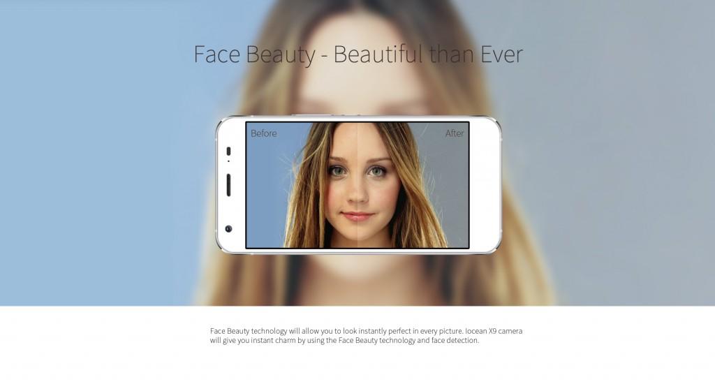"""El iOcean X9 dispone de función """"beauty face"""" para mejorar nuestro aspecto en las fotos de forma automática."""