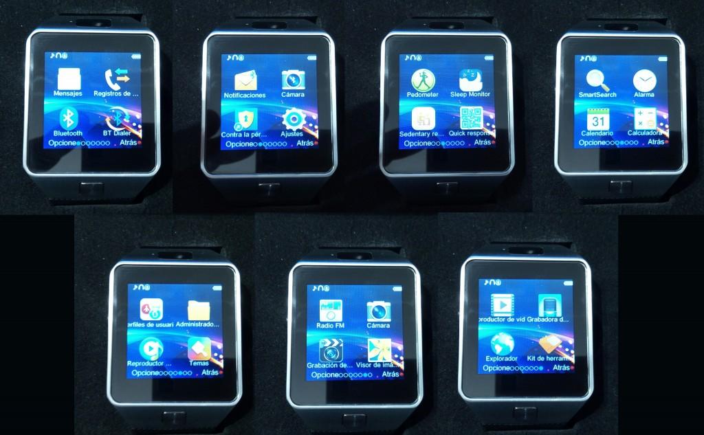El DZ09 cuenta con siete menús, en los que encontraremos las distintas aplicaciones que posee.