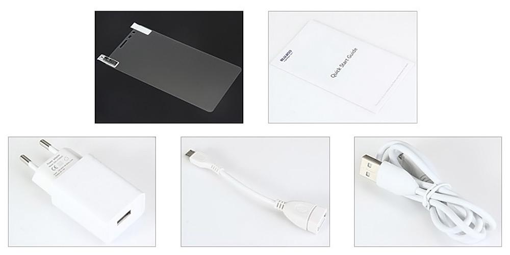 El Bluboo X550 incluye varios accesorios, como un cable OTG y un cargador compatible con PumpExpress Plus.