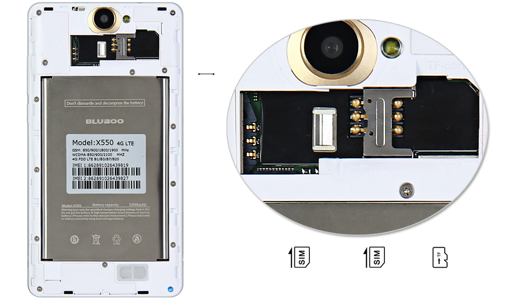 El Bluboo X550 es dual sim y permite ampliar mediante una MicroSD el almacenamiento.
