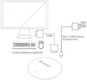 Pese a su forma y tamaño, el Meegopad T04 tiene un sistema operativo de escritorio.