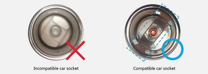 El conector de mechero de nuestro coche ha de ser como el del ejemplo de la derecha para que sea compatible con el Xiaomi Roidmi.