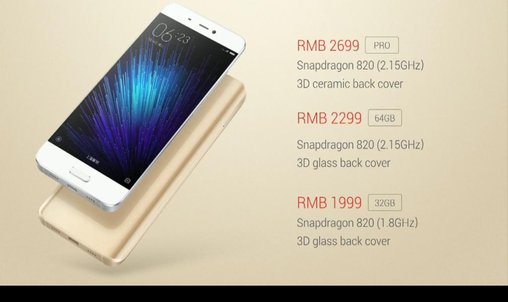 Gizlogic_ Xiaomi Mi 5_modelos y precios