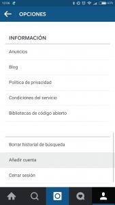 """En la pantalla de opciones de la app de Instagram está la opción """"Añadir cuenta""""."""