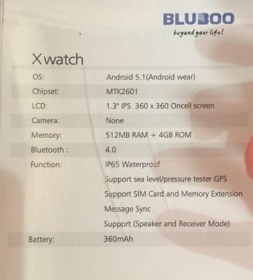 bluboo xwatch espec