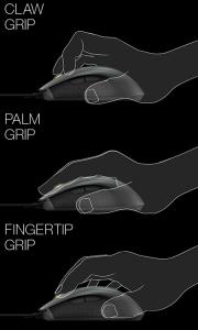 El Mionix Castor es compatible con los 3 agarres más habituales, Claw, Palm y Fingertip.