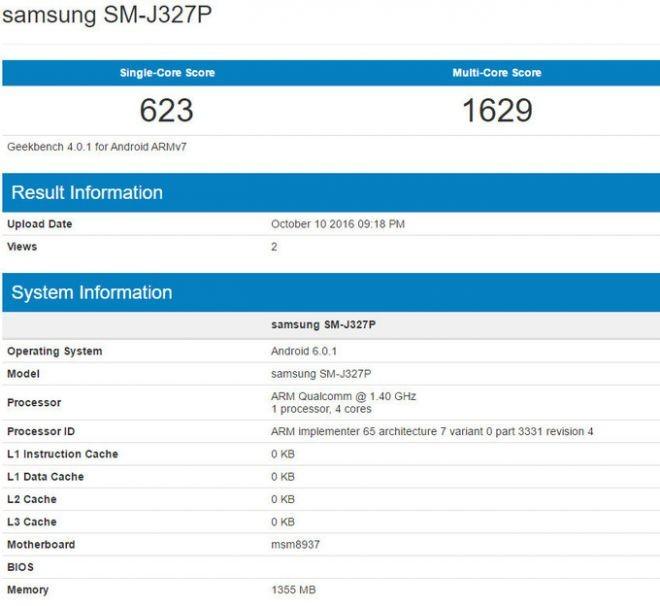 Geekbench Samsung Galaxy J3