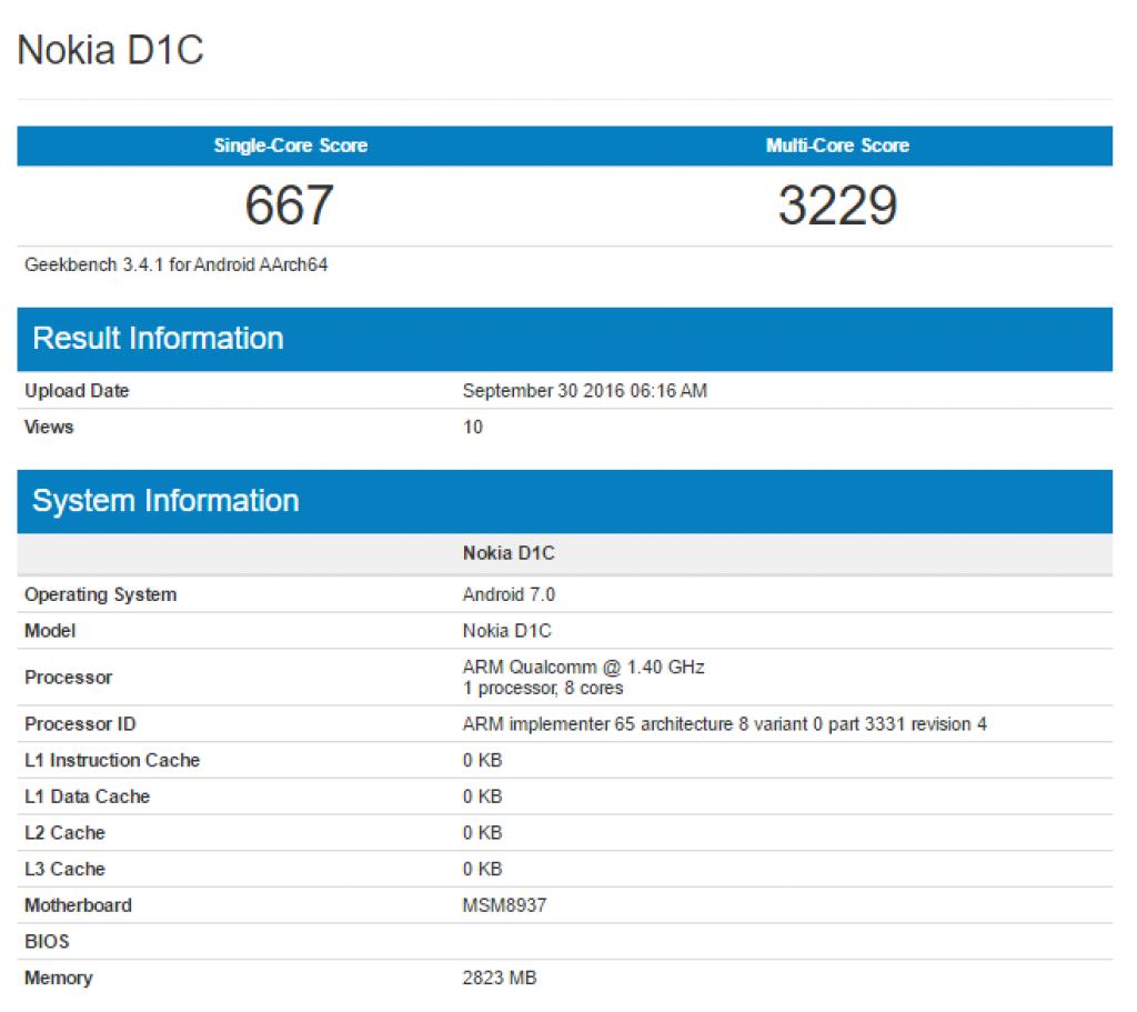 Nokia D1C en Geekbench