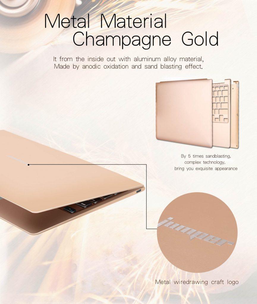 Jumper EZbook Air 8350, un ultrabook dorado fabricado en aluminio