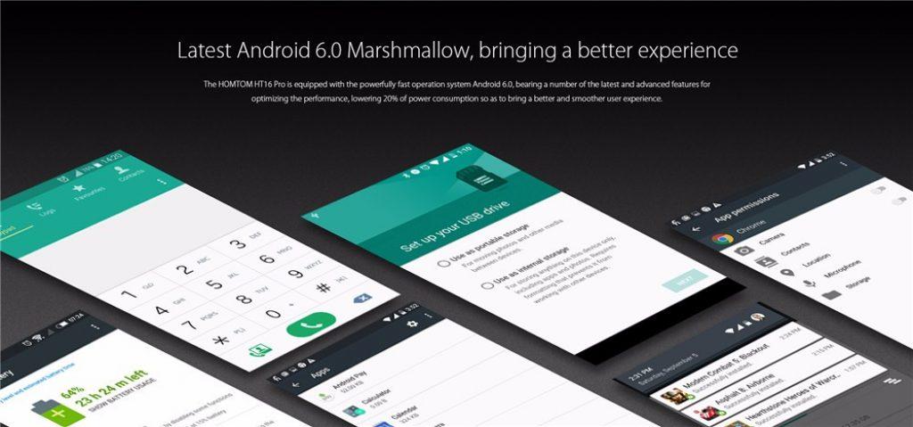 Homtom HT16 Pro lleva la última versión de Android, conocida popularmente como Marshmallow