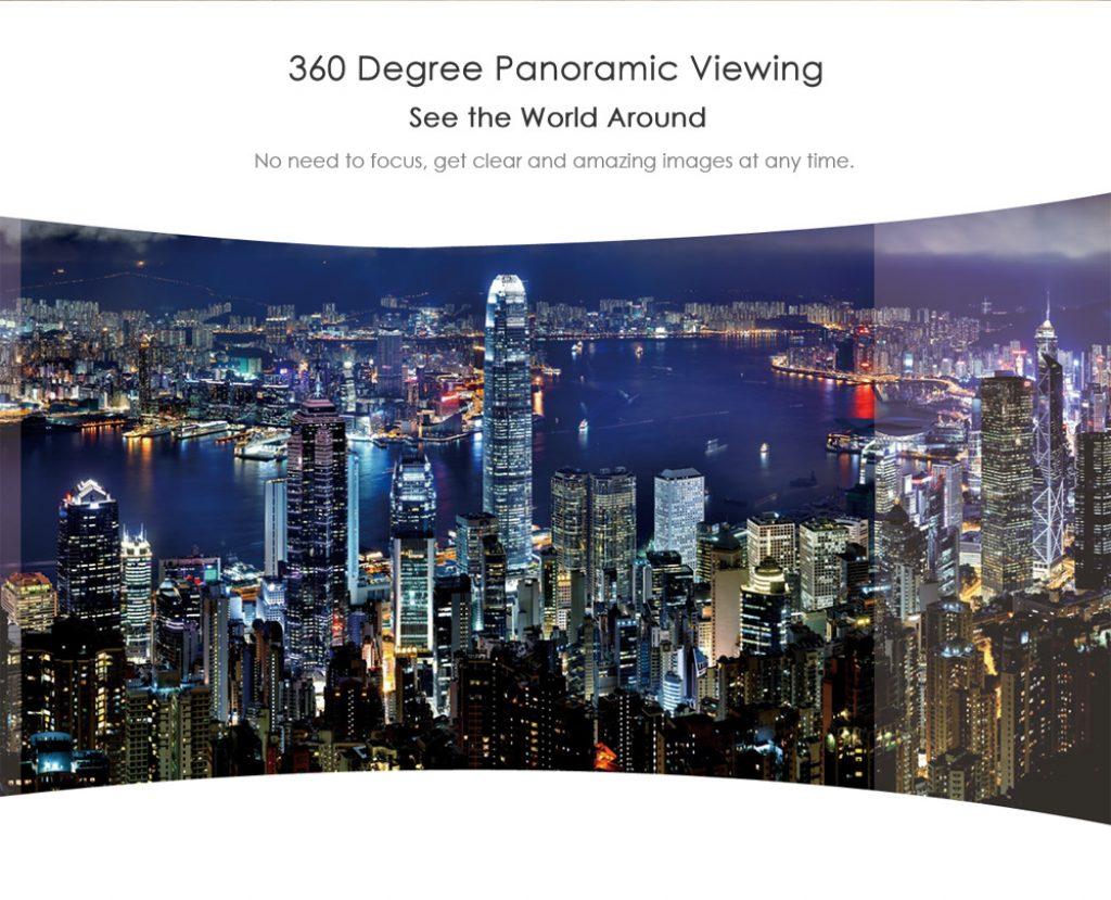 La SJCAM 360 es capaz de grabar escenas de 360 grados, que llegan a 2K en el plano horizontal y 240 grados en el vertical
