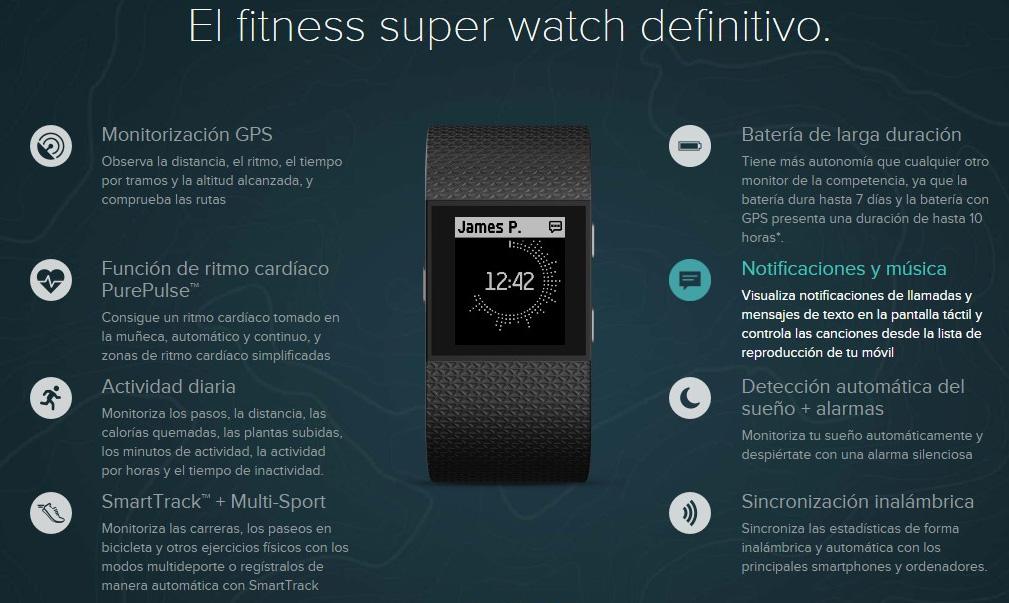 Pulseras Fitbit surge, funciones