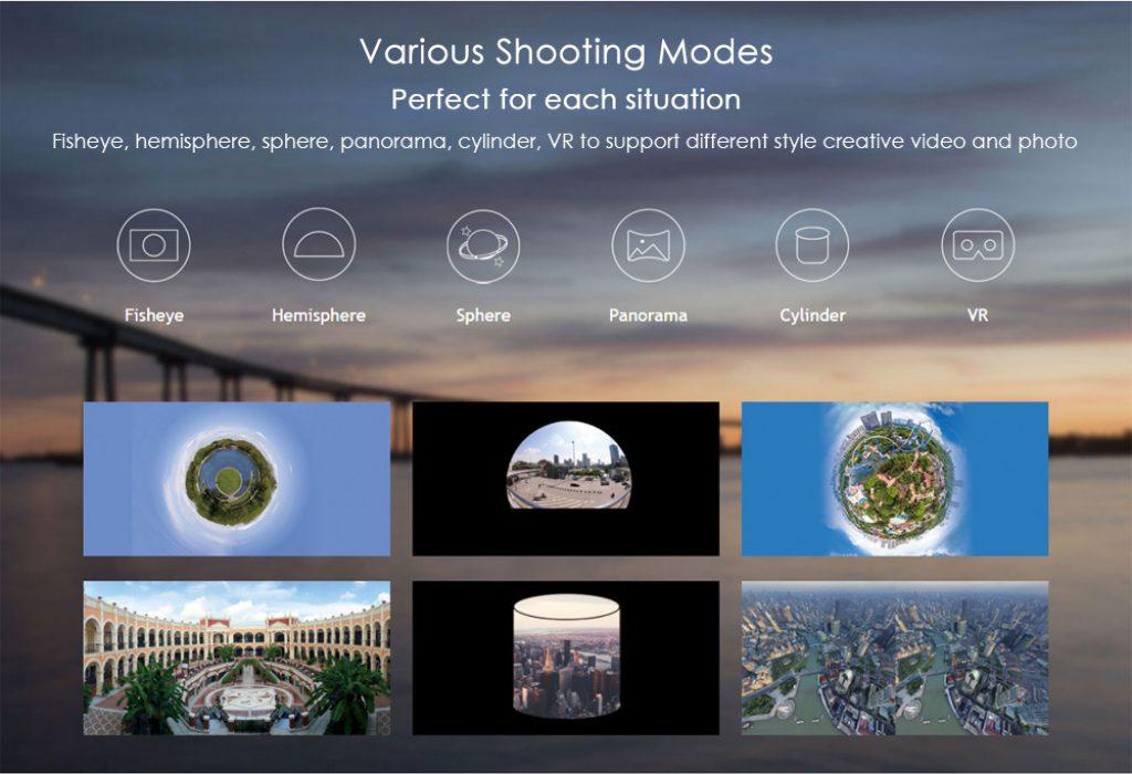 Una de las grandes ventajas de la cámara SJCAM 360, es que cuenta con hasta 6 modos de disparo diferentes para cada situación