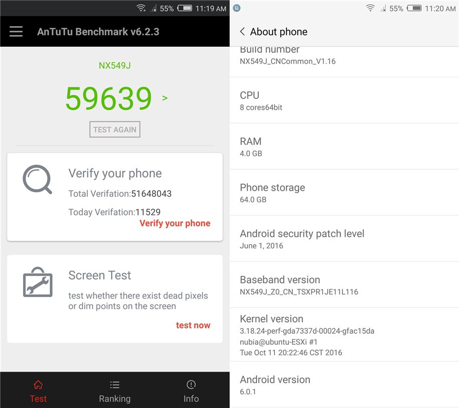 ZTE Nubia Z11 Mini S Benchmark en AnTuTu 6.2.3