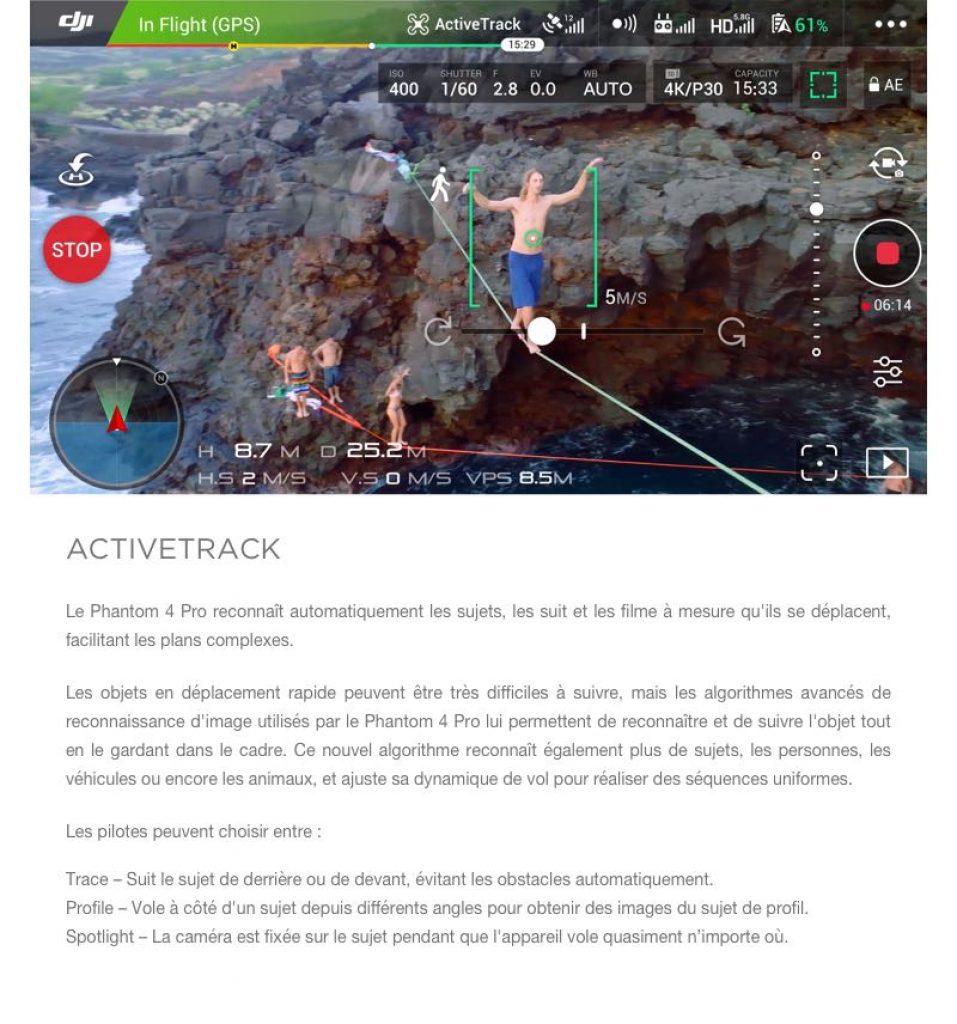 DJI Phantom 4 Pro, activetrack