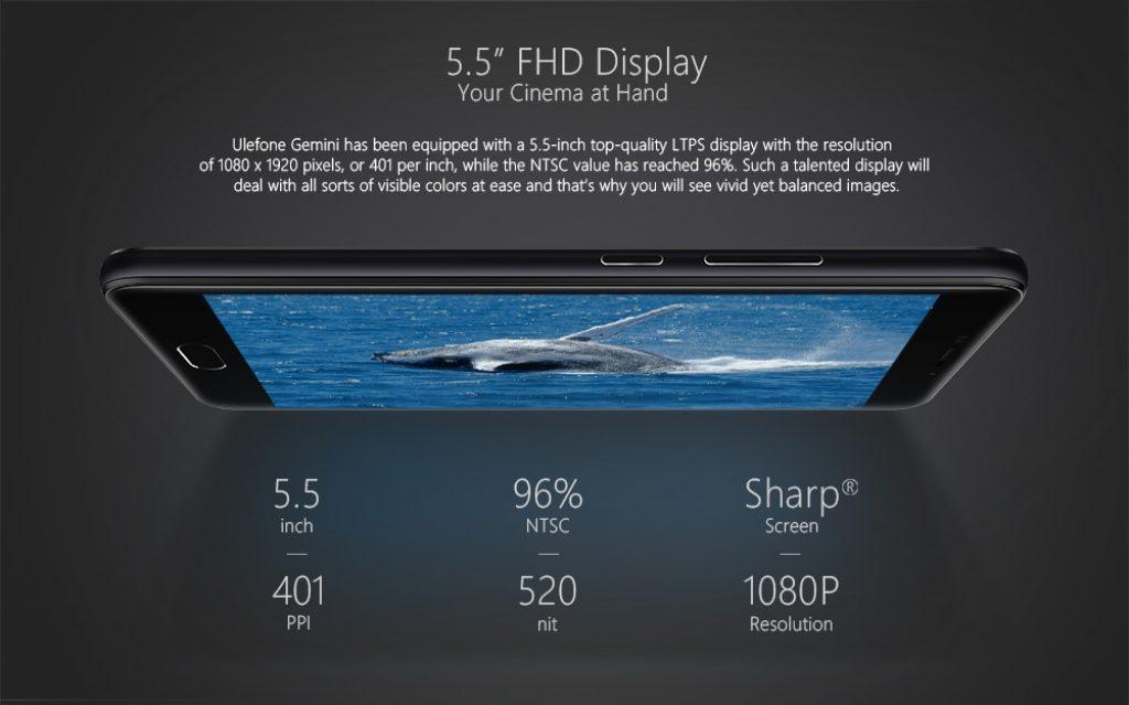 Ulefone Gemini, pantalla
