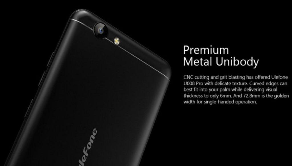 Ulefone U008 Pro, diseño