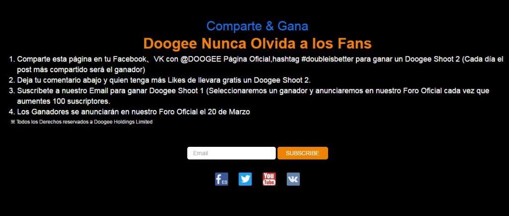 Sorteo de Facebook de Doogee