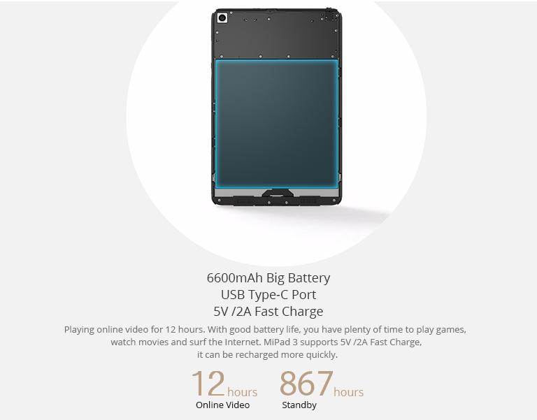 Xiaomi Mi pad 3 Funciones y Batería