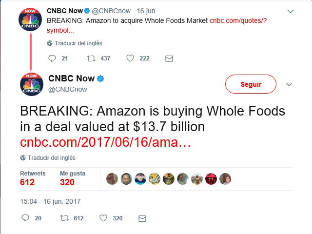 Amazon adquiere Whole foods market por 13.7 mil millones de dólares