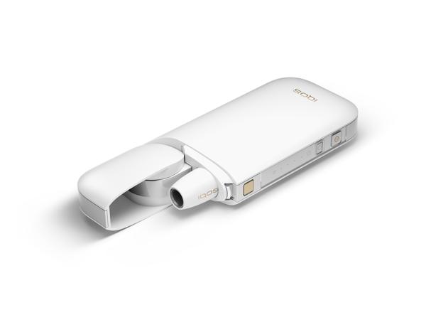 Cargador IQOS con el dispositivo dentro en color blanco.