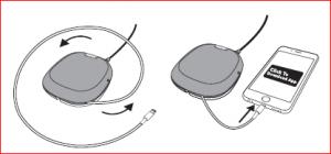 El cable de la base iXpand se puede enrollar.
