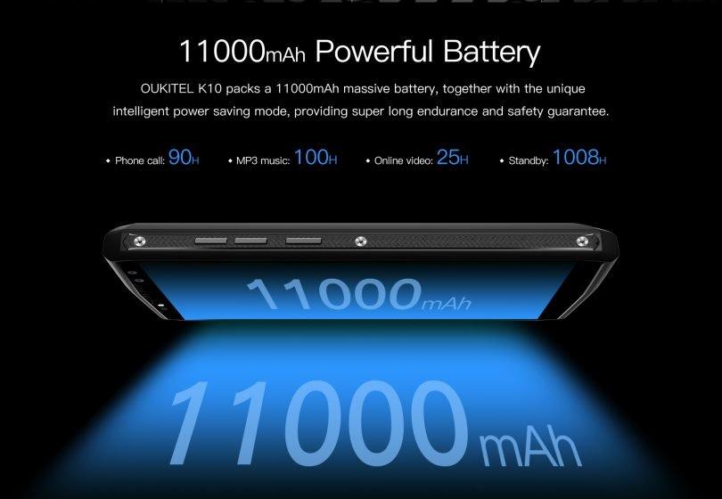 Oukitel K10, batería