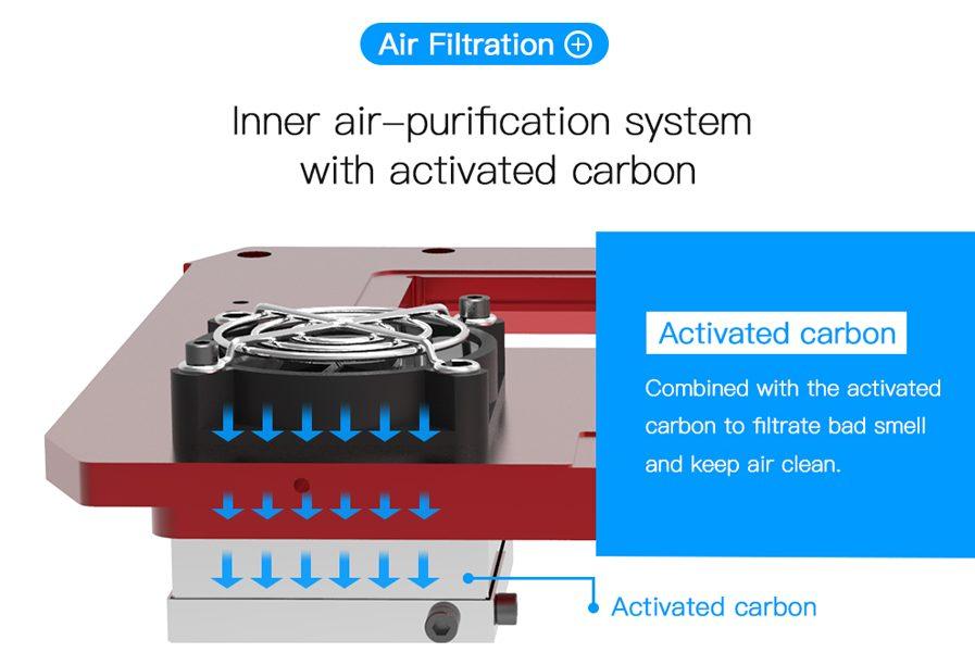 La Anycubic PHOTON cuenta con un filtro de aire