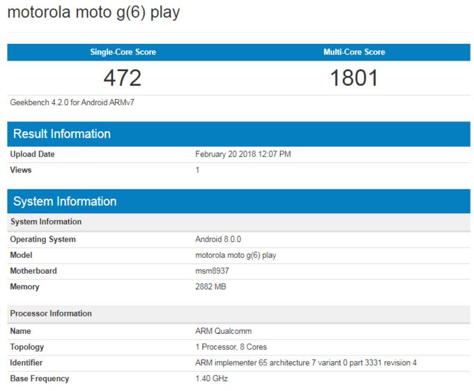 benchmark moto g6 play