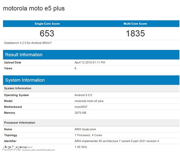 Geekbench Moto E5 Plus