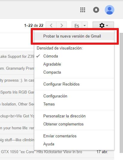 Gmail - cómo activar el nuevo diseño