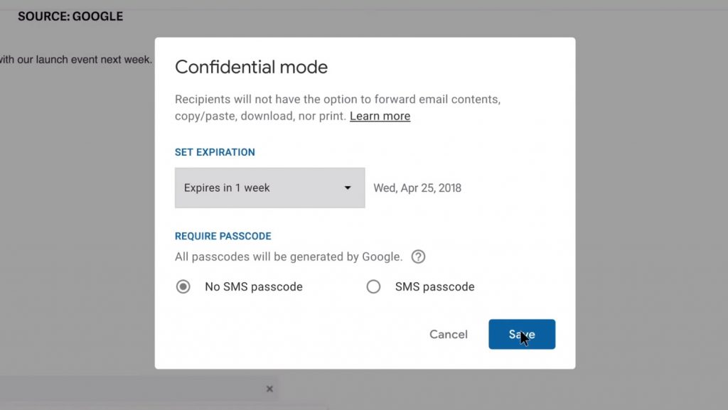 Gmail - modo confidencial