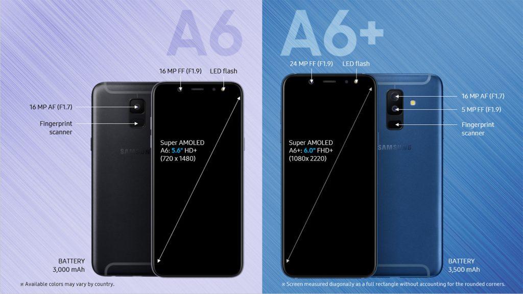 El Samsung Galaxy A6 vs Samsung Galaxy A6+