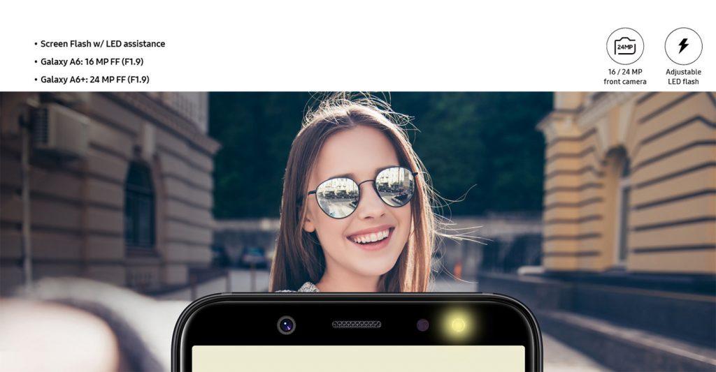 Samsung Galaxy A6 y A6+ - Cámara frontal