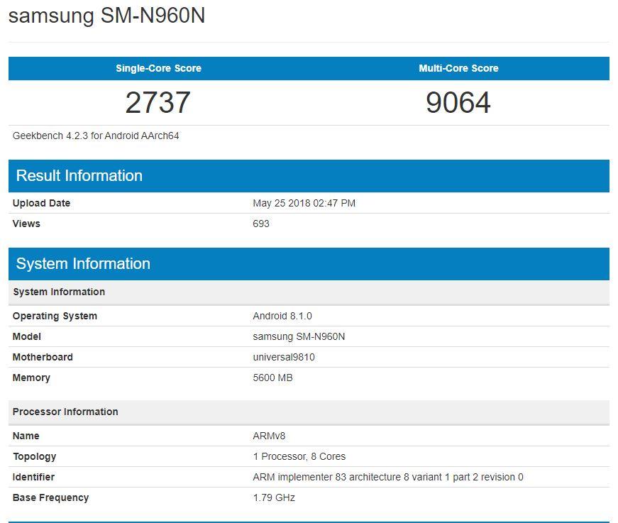 Samsung Galaxy Note 9 - Benchmark en Geekbench de la versión con Exynos 9810