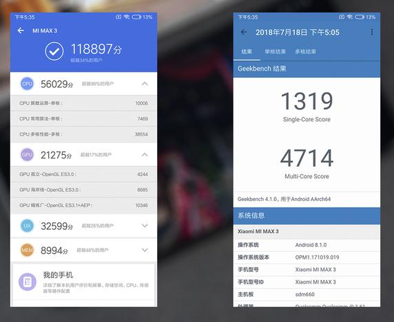 Benchmark del Xiaomi Mi MAX 3 en AnTuTu y Geekbench