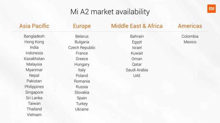Disponibilidad y precio del Xiaomi Mi A2