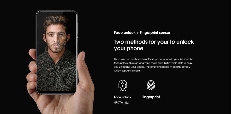 El Elephone A4 soporta desbloqueo facial a través de su cámara frontal