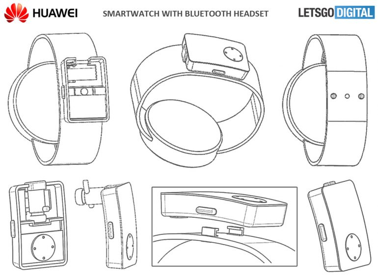 Patente Smartwatch Huawei con auriculares Bluetooth 1