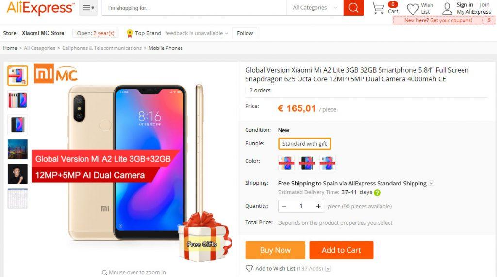 Xiaomi Mi A2 Lite - Listado en AliExpressXiaomi Mi A2 Lite - Listado en AliExpress