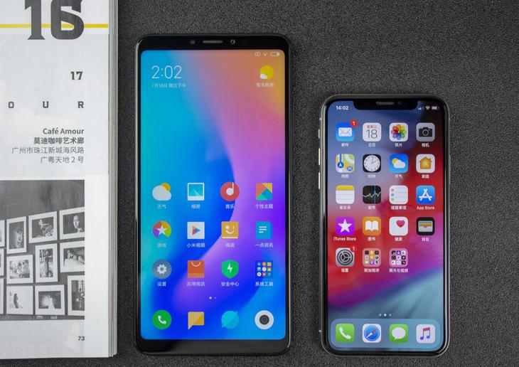 Xiaomi Mi MAX 3 comparativa de tamaño con el iPhone X