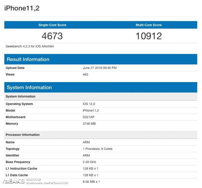 iPhone X 2018 en Geekbench