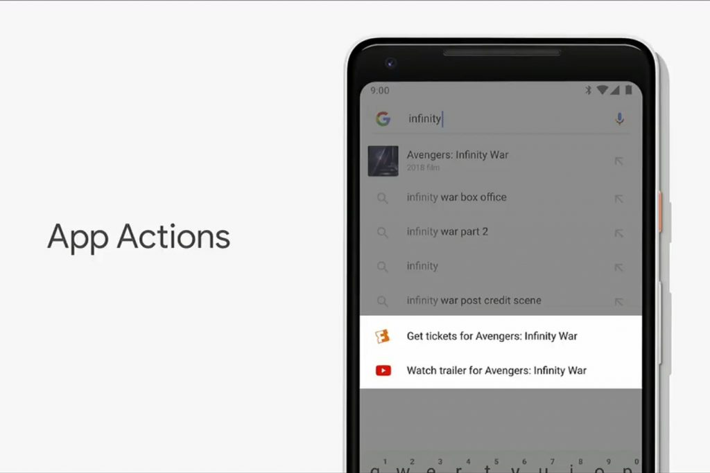 Android 9 Pie - app actions