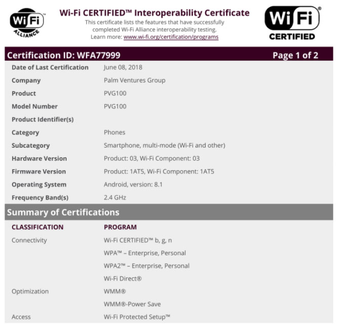 Smartphone Palm PVG100 aparece en la Wi-Fi Alliance